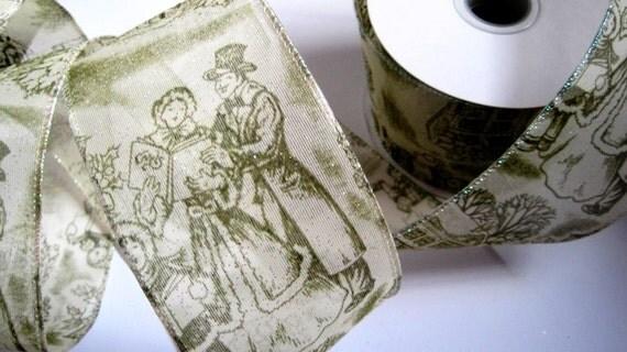 "Carol Sheer Ribbon Trim, Sage, 2 1/2"" inch wide, 1 yard, For Home Decor, Floral Arrangements, Gift Baskets, Victorian & Romantic Crafts"