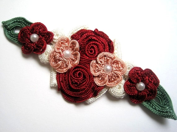 Romantic Floral Applique With Pearls, Red / Pink / Green / White x 1, For Apparel, Accessories, Costumes, Mixed Media, Romantic Crafts