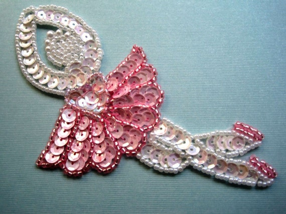 Ballerina Sequin Applique, White / Pink, x 1, For Mixed Media, Scrapbook, Apparel, Costume, Accessories, Romantic & Victorian Crafts