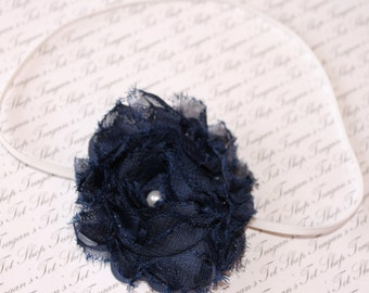 Navy Blue Chiffon Baby Flower Headband, Newborn Headband, Baby Girl Flower Headband, Photography Prop