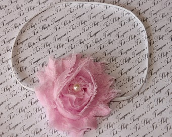 Baby Pink Chiffon Baby Flower Headband, Newborn Headband, Baby Girl Flower Headband, Photography Prop