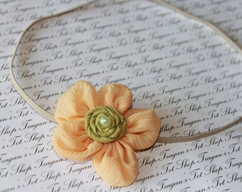 Yellow Ballerina Bloom Baby Flower Headband, Newborn Headband, Baby Girl Flower Headband. Photography Prop