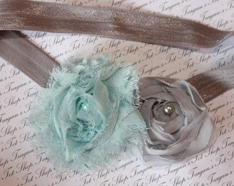 Gray and Aqua Chiffon Baby Flower Headband, Newborn Headband, Baby Girl Flower Headband, Photography Prop