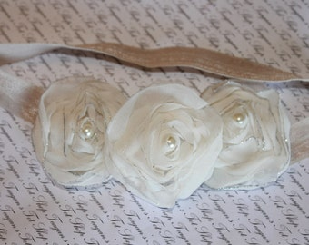 Ivory Chiffon Baby Flower Headband, Newborn Headband, Baby Girl Flower Headband, Photography Prop