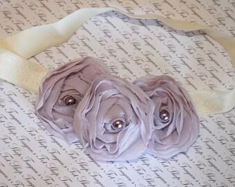 Lilac Chiffon Baby Flower Headband, Newborn Headband, Baby Girl Flower Headband, Photography Prop