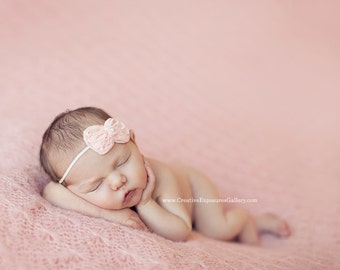 Peach Chiffon Bow Baby Flower Headband, Newborn Headband, Baby Girl Flower Headband, Photography Prop