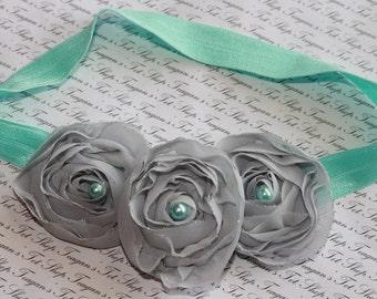 Gray and Aqua Chiffon Baby Flower Headband, Newborn Headband, Baby Girl Flower Headband, Photography Prop