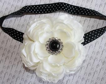 Black and White Polka Dot Baby Flower Headband, Newborn Headband, Baby Girl Flower Headband, Photo Prop