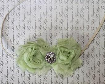 Petite Celery Green Rhinestone Chiffon Baby Flower Headband, Newborn Headband, Baby Girl Flower Headband, Photography Prop