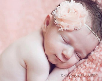 Peach Chiffon Shabby Chic Baby Flower Headband, Newborn Headband, Baby Girl Flower Headband, Photography Prop