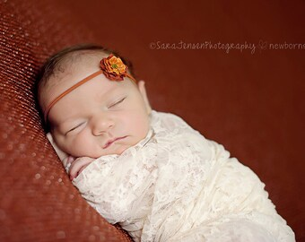 The Lulu Pumpkin Petite  Baby Headband, Newborn Headband, Baby Girl Flower Headband, Photography Prop