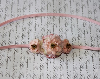 The Lulu Three Rose Petite  Baby Headband, Newborn Headband, Baby Girl Flower Headband, Photography Prop