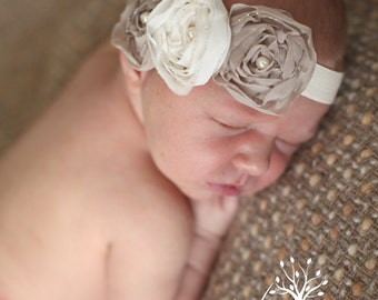 Taupe and Ivory Chiffon Baby Flower Headband, Newborn Headband, Baby Girl Flower Headband, Photography Prop