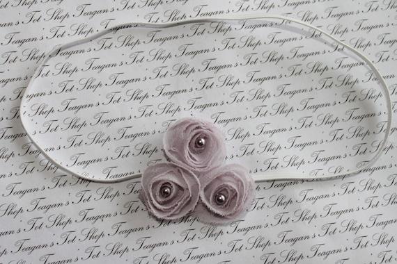 Petite Lilac Chiffon Rosette Headband, Newborn Headband, Baby Flower Headband, Baby Girl Flower Headband, Photography Prop