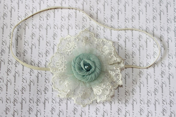 Vintage Lace Aqua Baby Flower Headband, Newborn Headband, Baby Girl Flower Headband, Photography Prop