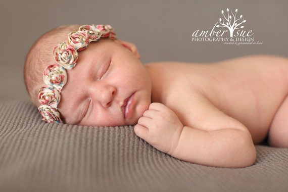 Rose Chiffon Petite Flower Halo Baby Flower Headband, Newborn Headband, Baby Girl Headband, Photography Prop