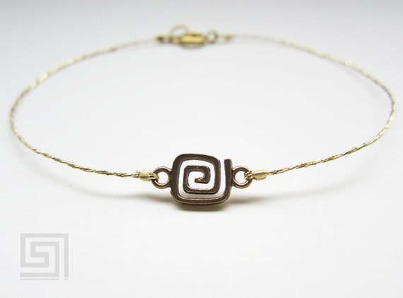 Bracelet Anklet Gold Greek Key Anchor Greece Ancient Copper Bracelets Anklets