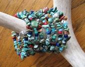RESERVED  Boho Mixed Stone Coil Bracelet