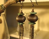 Iniko Brass Turquoise and Chain Tassel Earrings