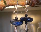 Lapis Disc Bead and Silver Earrings Blue Small Dangle Bohemian
