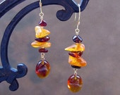 Sunset  Amber Beadwork Earrings...   Baltic Dangle Gypsy Bohemian Hippie