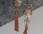 RESERVED Shield and Chain DangleTribal Earrings... Hippie Boho Gypsy Tribal Nomad