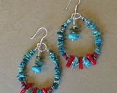 Turquoise and Coral Hoop Earrings...  South Western Turquoise Native