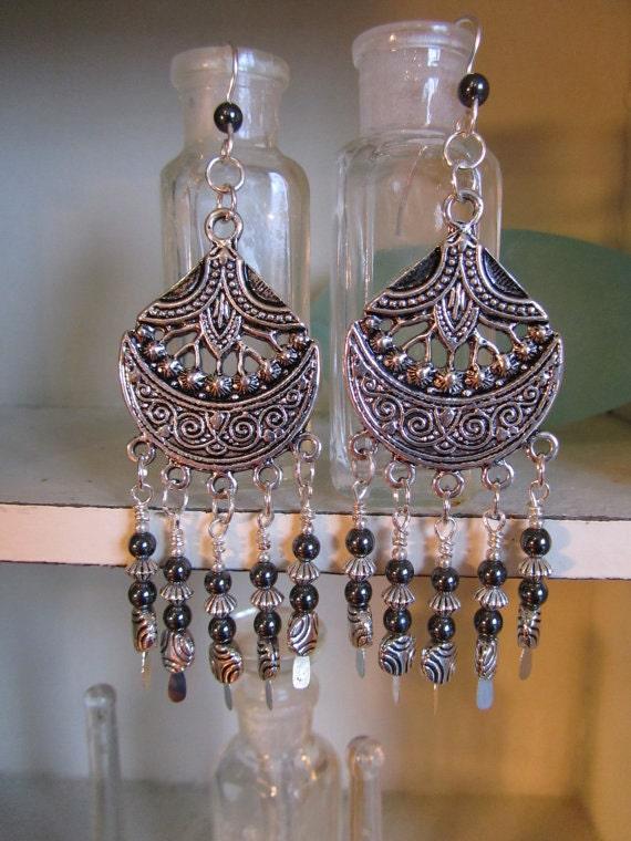 SALE Silver  Hematite Chandelier Earrings...Bohemian Gypsy Hippie Beadwork