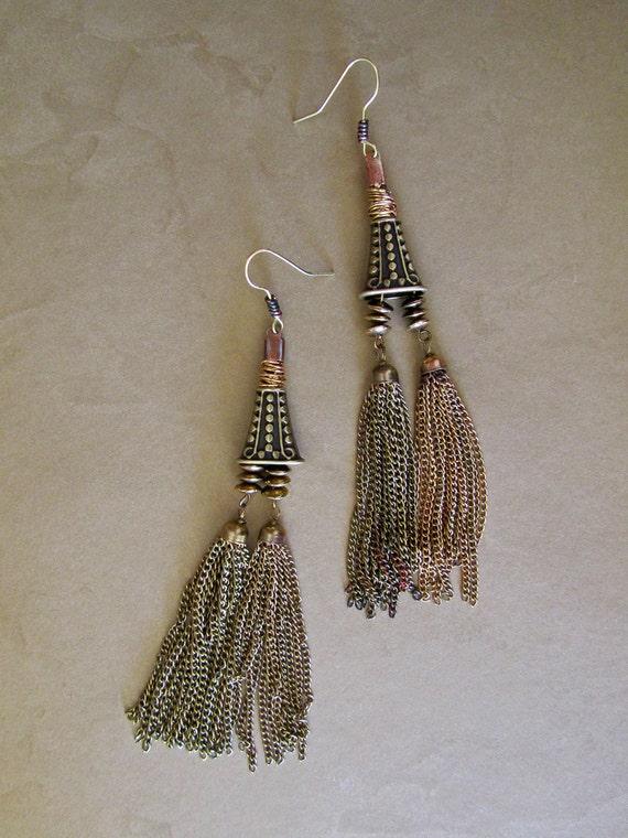 Crazy Long Dangle Chain Tassel Earrings