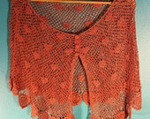 Vintage pink crocheted lace shrug, shawl, or scarf