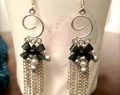 Black Bow Earrings with Swirl Chandelier and Chain Dangles