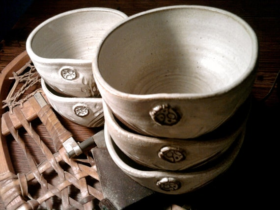 Bowl set natural wheat carved pottery