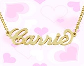 18K Gold over Brass Carrie Name Necklace for You or your BFF