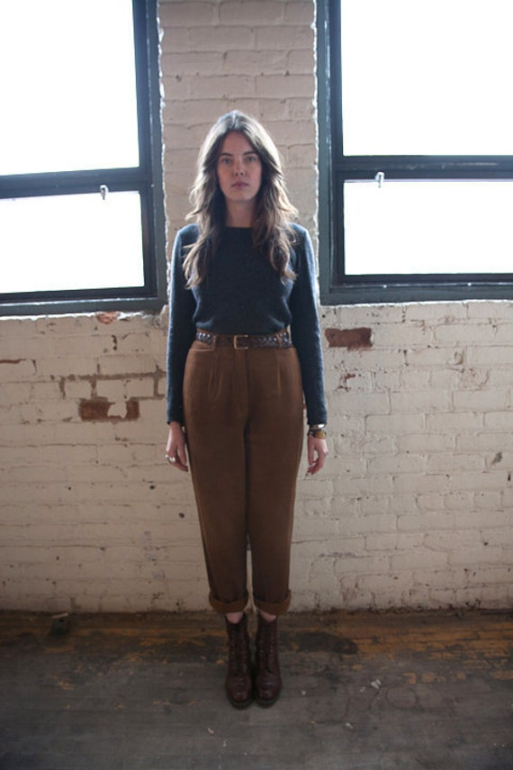 90s brown faux suede pants trousers high waist