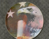 American Flag Patriotic Dinner Plate, Bald Eagle, Melamine, Folk Art