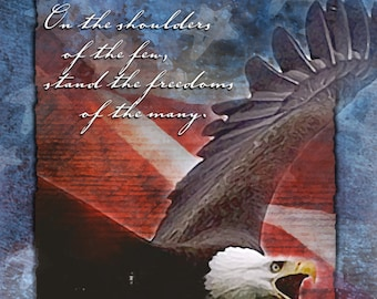 On the Shoulders of the Few patriotic greeting card, United states, Support our Troops greeting card