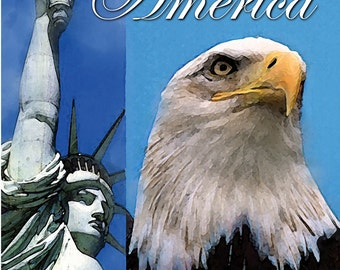 Symbols of Freedom AMERICA, patriotic greeting card, America, Support or Troops
