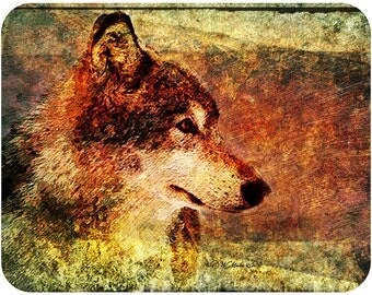 Beautiful Rustic Timber Wolf Illustration Mouse Pad