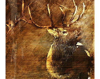 ABSTRACT RUSTIC ELK - fine art painting, elk, bull elk, rustic, painting, wall decor, home decor, office decor