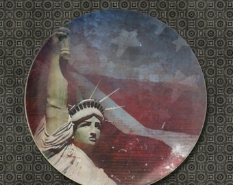 American Flag Patriotic Plate, Statue of Liberty, melimine plate