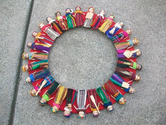 Vintage Guatemalan Worry Doll Wreath