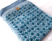 iPad Cover / Case - Blue & Teal Fair Isle Hand Knit iPad Sleeve, with Red Felt Lining
