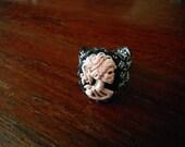 pink skull cameo ring
