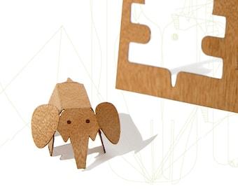 postcard wood - 3 elephantcards