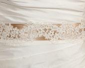 Alencon Lace Bridal Belt on a Satin Ribbon - Sofia
