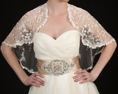 Chiffon Bridal Bolero Cape with Silk Embroidered Flowers - Westminster