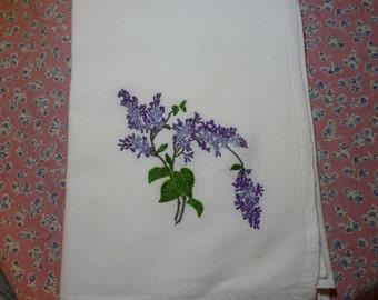 Spring Lilacs Flour Sack Dish Towel