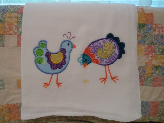 Embroidered Applique Chickens Flour Sack Dish Towel
