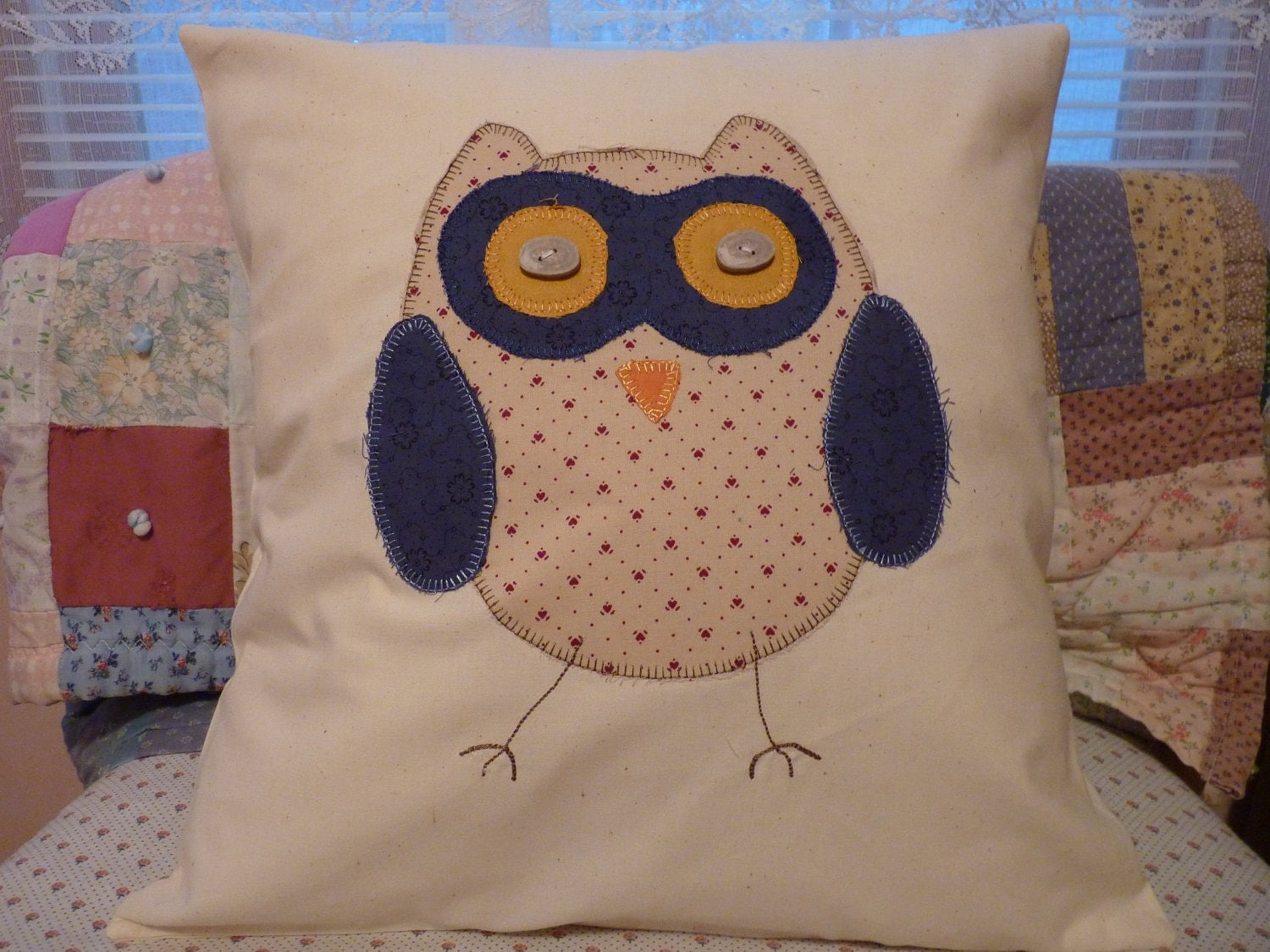 Owl Throw Pillow Etsy : Appliqued Owl Throw Pillow by SugarHillEnterprises on Etsy