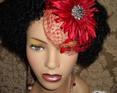 Red Daisy Bling with Crystal Brooch